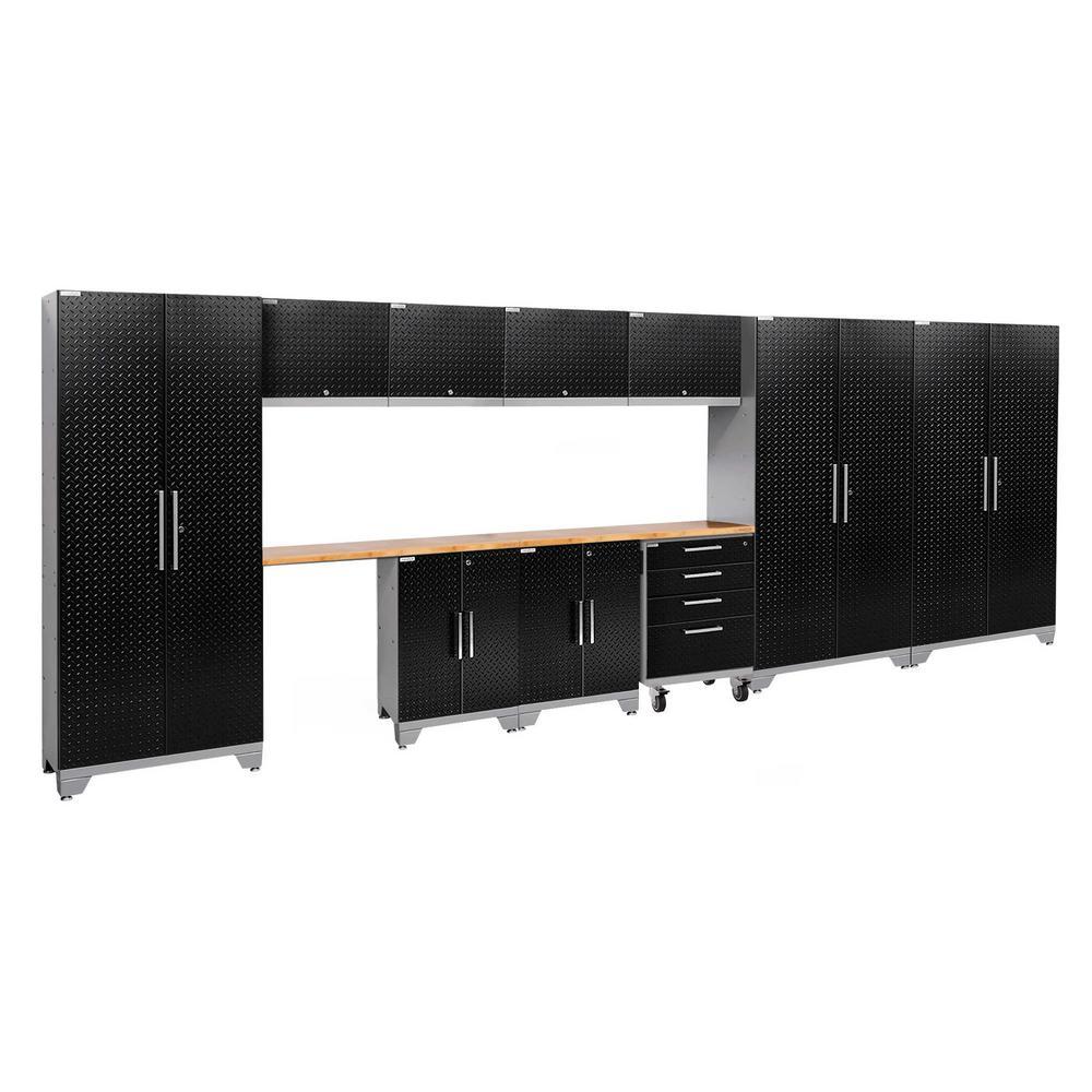 Performance 2.0 Diamond Plate 77.25 in. H x 186 in. W x 18 in. D Steel Bamboo Worktop Cabinet Set Black (12-Piece)