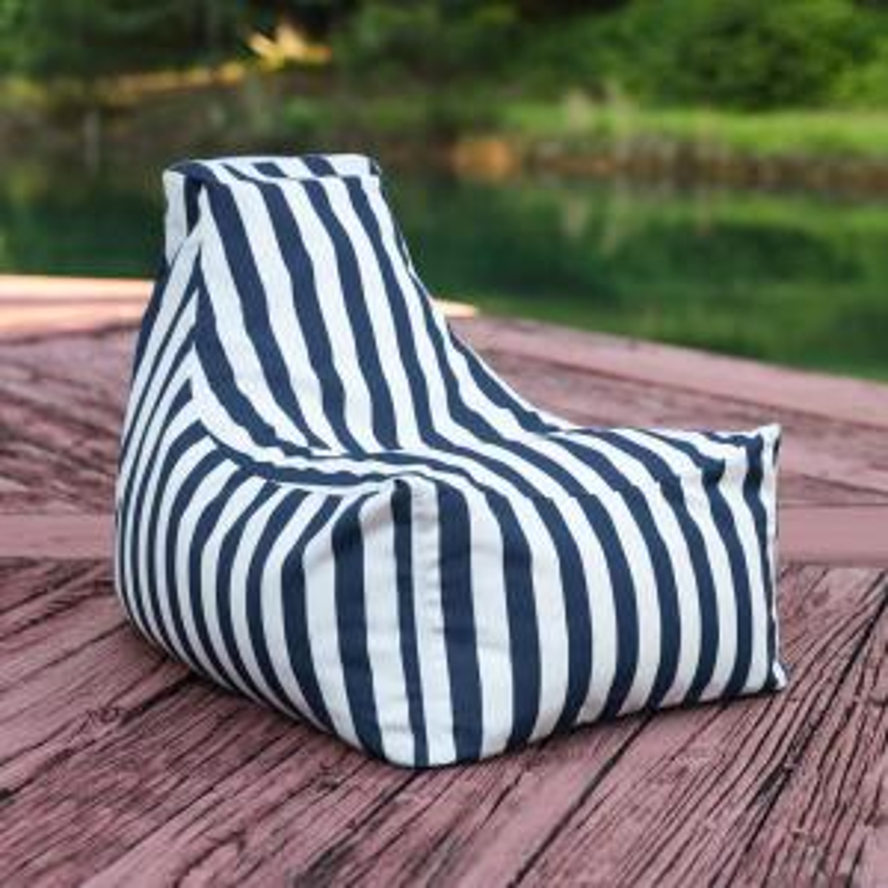 Awe Inspiring Jaxx Juniper Navy Stripes Outdoor Bean Bag Patio Lawn Chair Forskolin Free Trial Chair Design Images Forskolin Free Trialorg