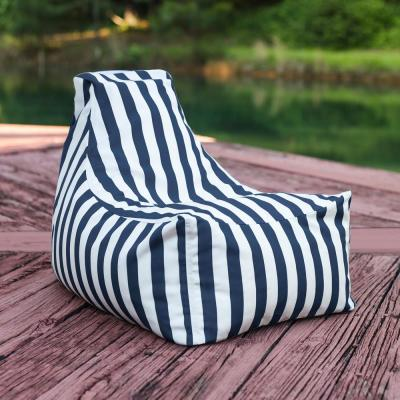 Juniper Jr Navy Striped Outdoor Kids Bean Bag Lawn Chair