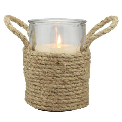 6 in. Natural Rope Wrapped Pillar Candle Holder with Handles