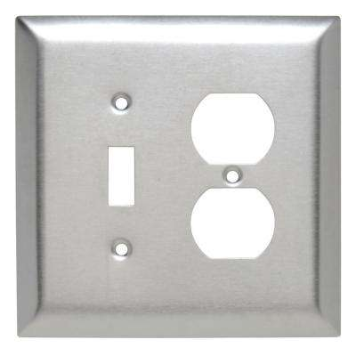 302 Series 2-Gang Jumbo Toggle/Duplex Combination Wall Plate, Stainless Steel
