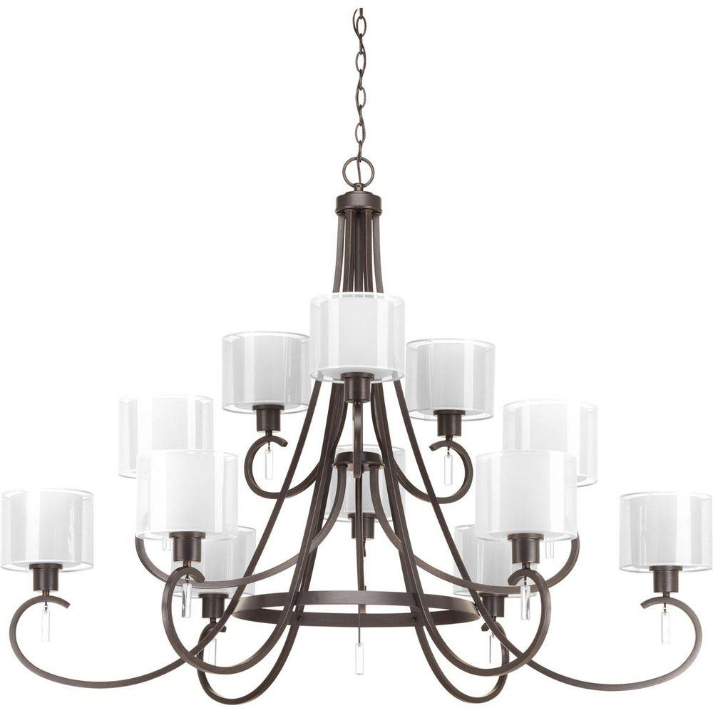Invite Collection 12-Light Antique Bronze Chandelier with Shade