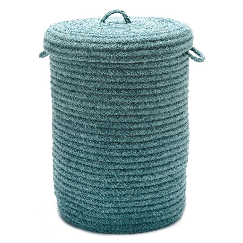 16 in. x 16 in. x 24 in. Teal Blended Wool Hamper