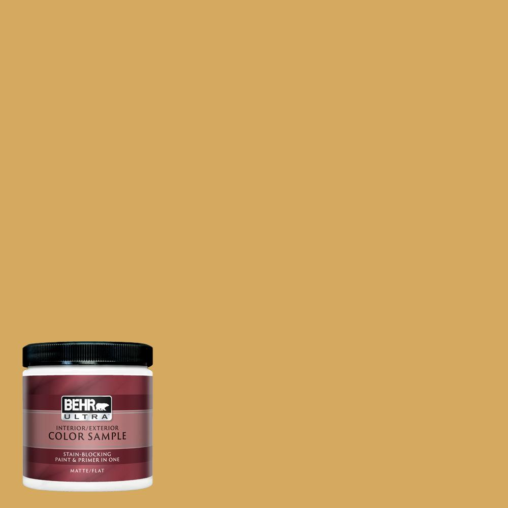 Behr Ultra 8 Oz 340d 5 Galley Gold Matte Interior Exterior Paint And Primer In One Sample Ul20316 The Home Depot