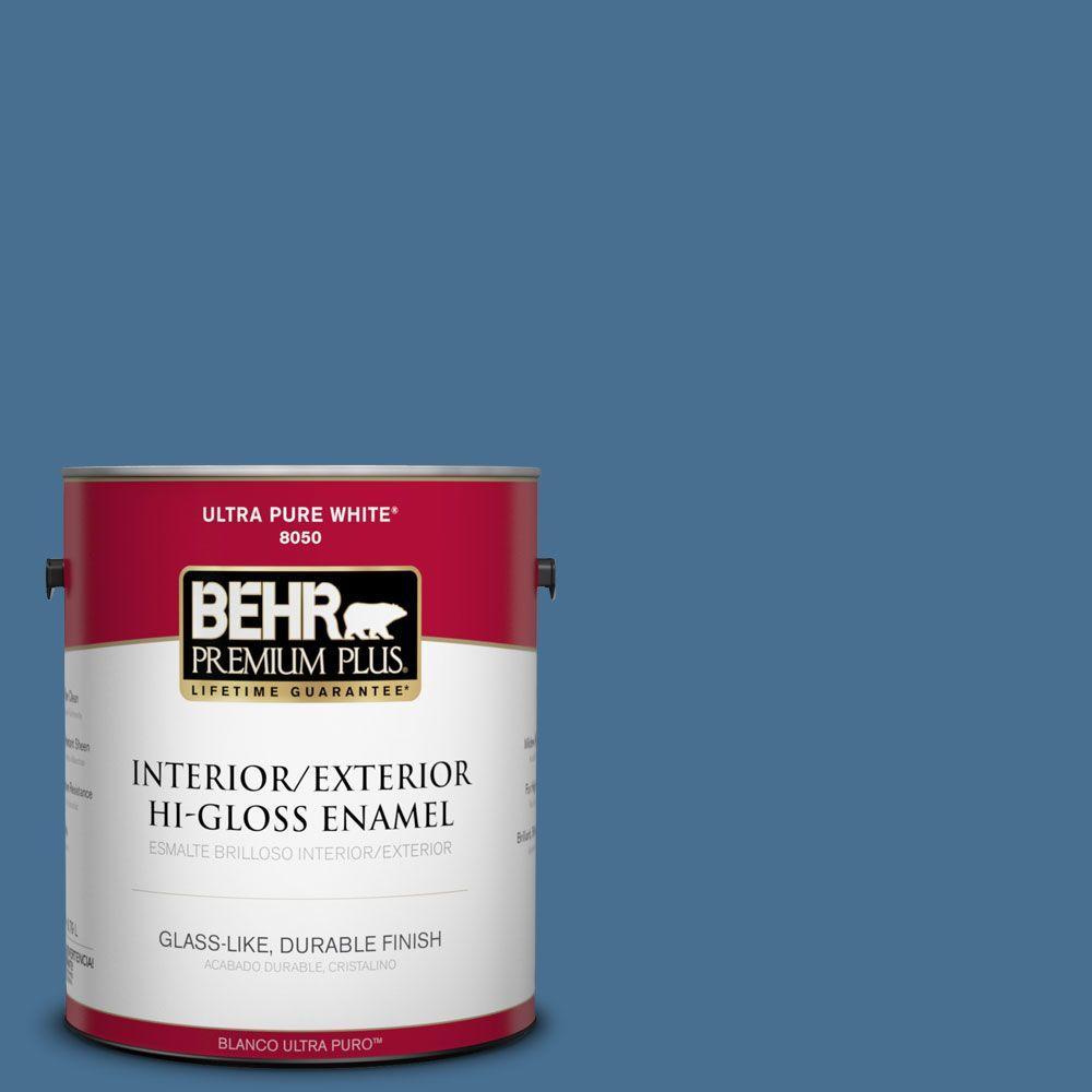 BEHR Premium Plus 1-gal. #M510-5 Sailor's Bay Hi-Gloss Enamel Interior/Exterior Paint
