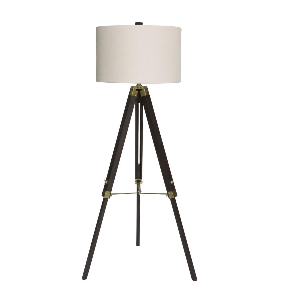 Fangio Lighting 60 in. Classic Structured Tripod Weathered Espresso Wood and Antique Brass Metal Floor Lamp