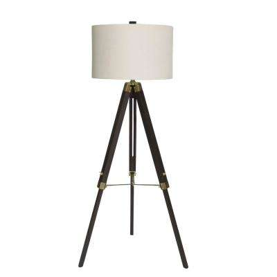 60 in. Classic Structured Tripod Weathered Espresso Wood and Antique Brass Metal Floor Lamp