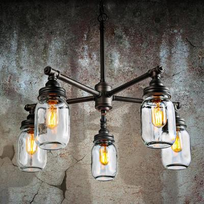 Vasei 25.2 in. 5-Light Rustic Pewter Chandelier with Modern Industrial Dark Gray Accents and Clear Mason Jar Glass Shade