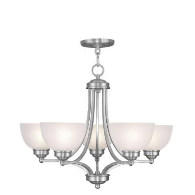 5-Light Brushed Nickel Chandelier with Satin Glass Shade