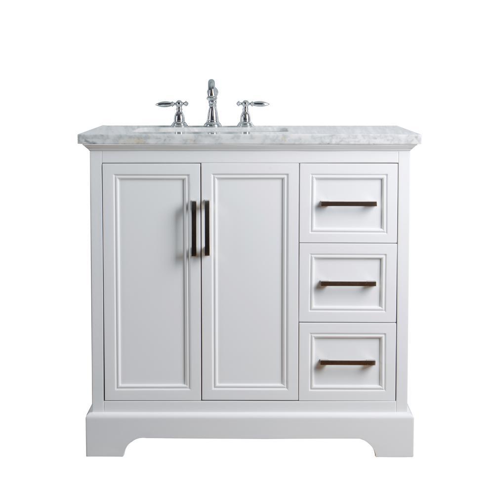 stufurhome 36 in. Ariane Single Sink Vanity in White with ...