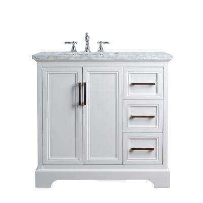 36 in. Ariane Single Sink Vanity in White with Marble Vanity Top in Carrara with White Basin