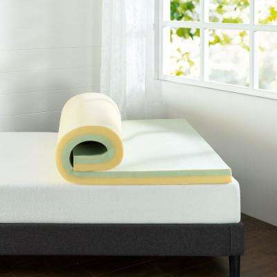 3 in. Green Tea Queen Memory Foam Mattress Topper
