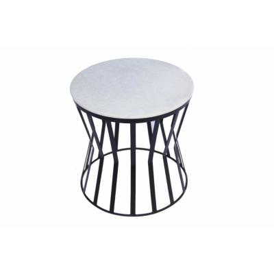 White Elegant Iron Base Side Table with Marble Top