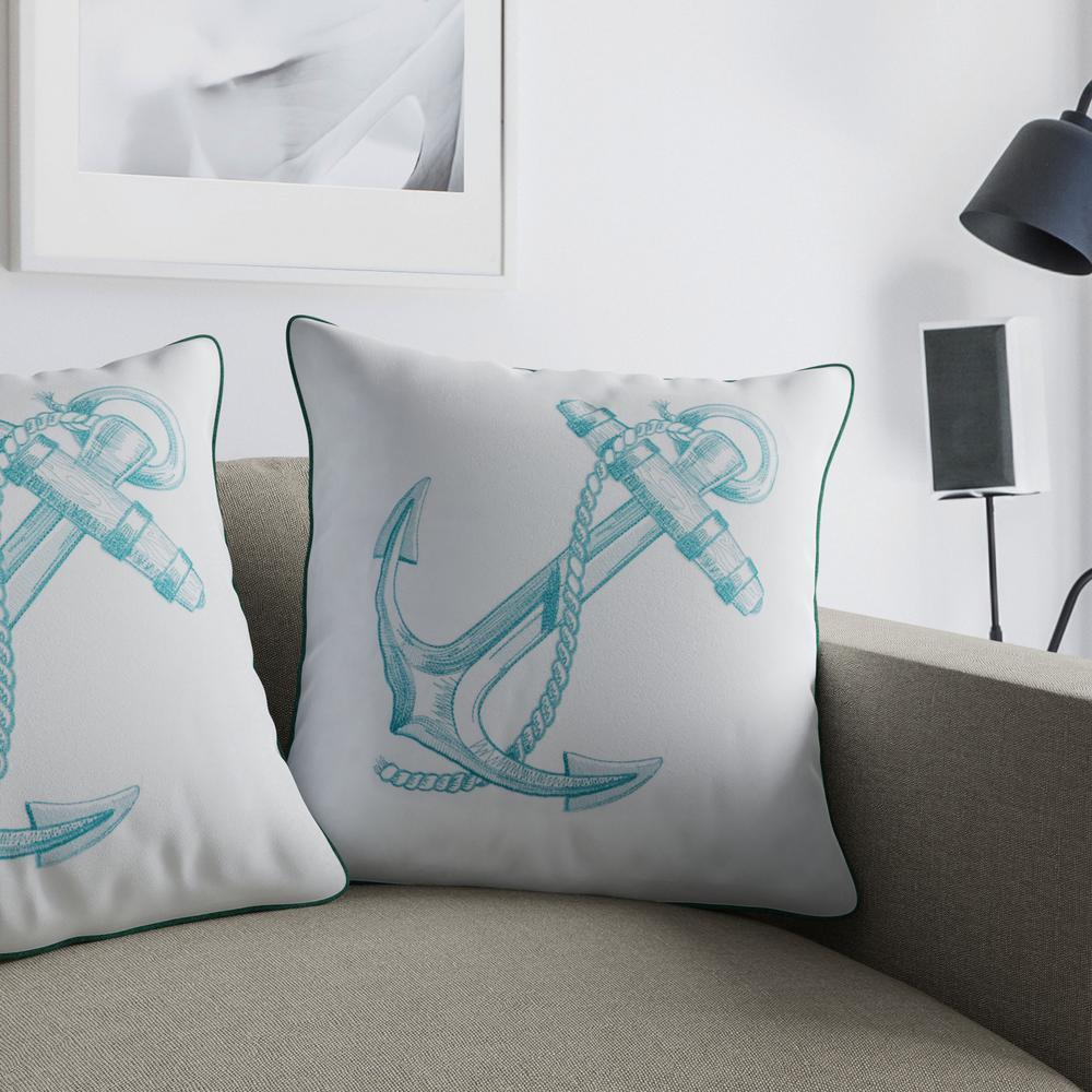 Anchor Teal Decorative Pillow (Set of 2)