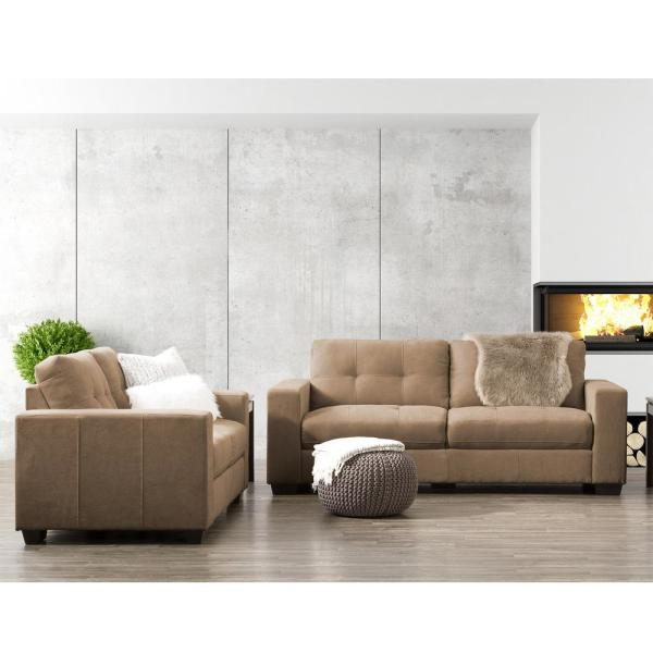 CorLiving Club 2-Piece Tufted Brown Chenille Fabric Sofa Set LZY-191-Z2