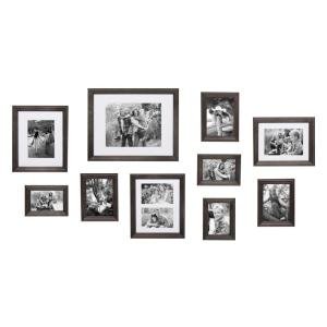 Bordeaux Charcoal Gray Wood Picture Frame (Set of 10)