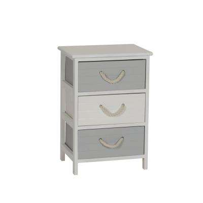 Seaside 19.5 in x 23 in. White and Gray 3-Drawer Storage Side Table