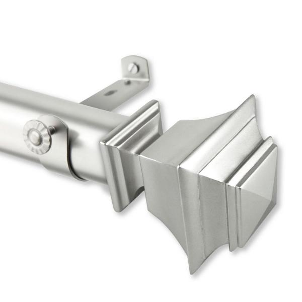 Rod Desyne Bach 1 5 In Non Telescoping Single Curtain Rod 15 Ft In Satin Nickel 150 25 15ft 5 The Home Depot