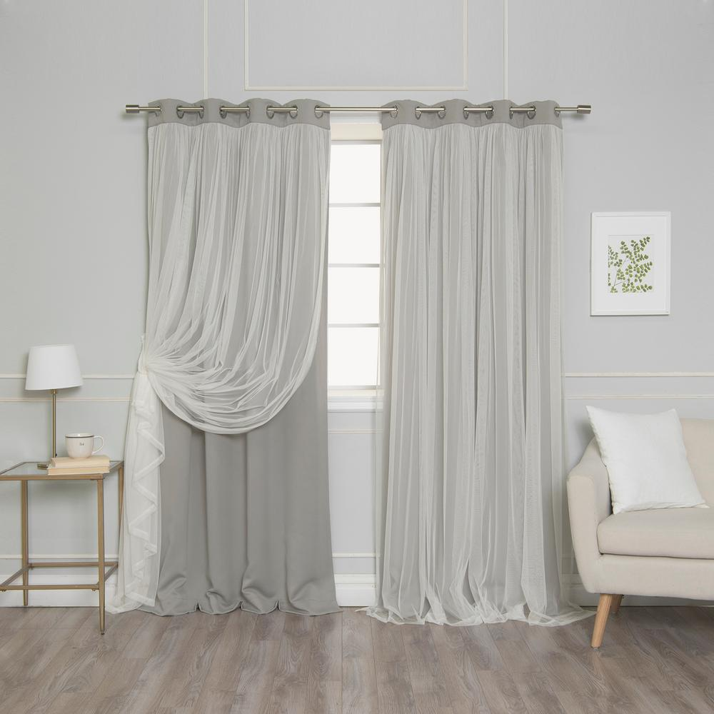 Best Home Fashion 84 in. L Dove Marry Me Lace Overlay Blackout Curtain Panel (2-Pack)