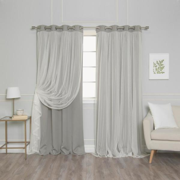 84 in. L Dove Marry Me Lace Overlay Blackout Curtain Panel (2-Pack)
