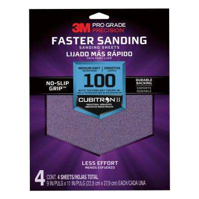 Pro Grade Precision 9 in. x 11 in. 100 Grit Medium Advanced Sanding Sheets (4-Pack) (Case of 20)