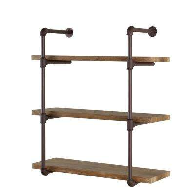 Urbanne Industrial Aged 3 Tiered Wood Print MDF And Metal Pipe Floating Wall Shelf