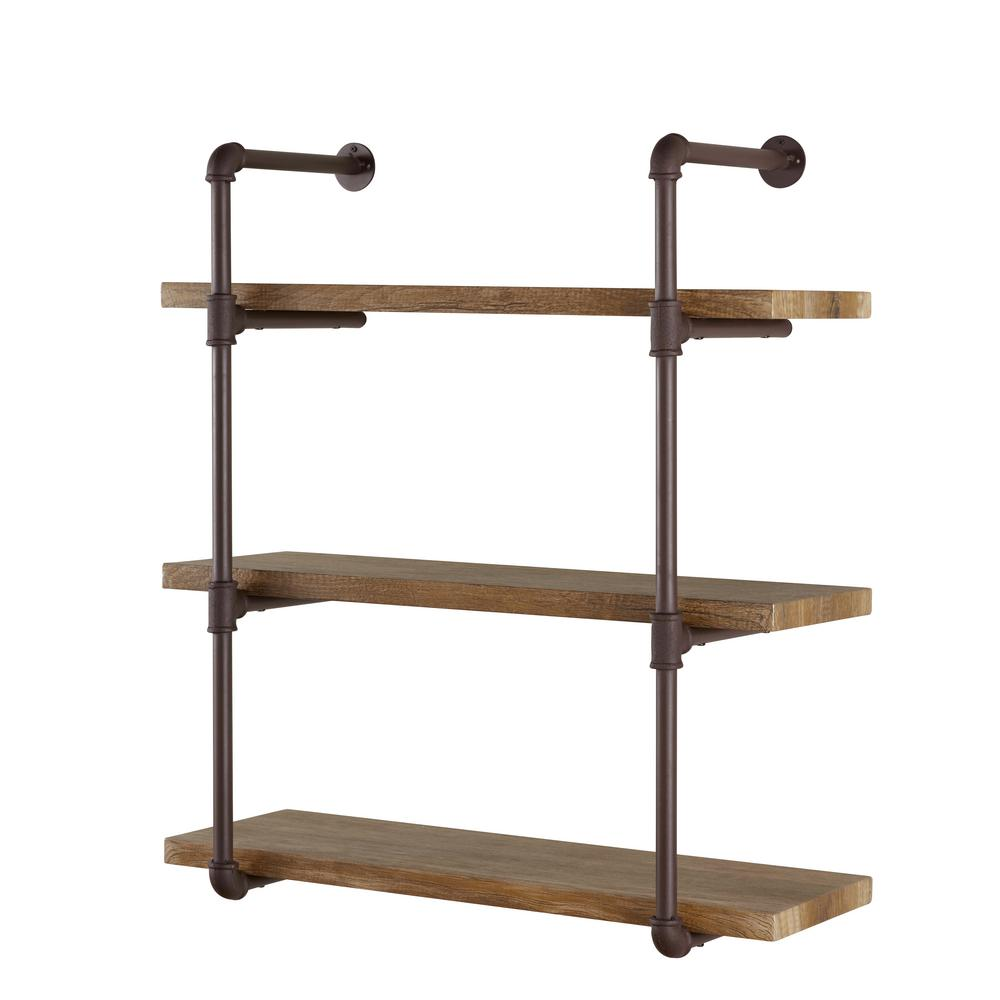 DANYA B Urbanne Industrial Aged 3 Tiered Wood Print MDF And Metal Pipe Floating Wall