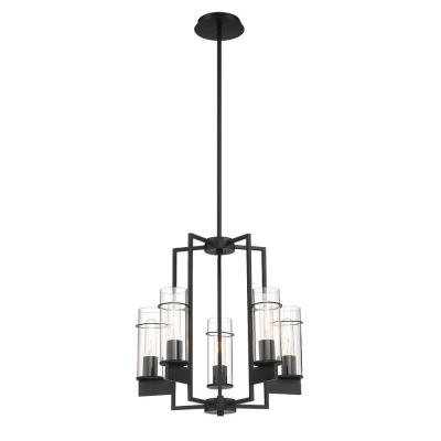 5-Light Matte Black Pendant with Clear Glass Shades