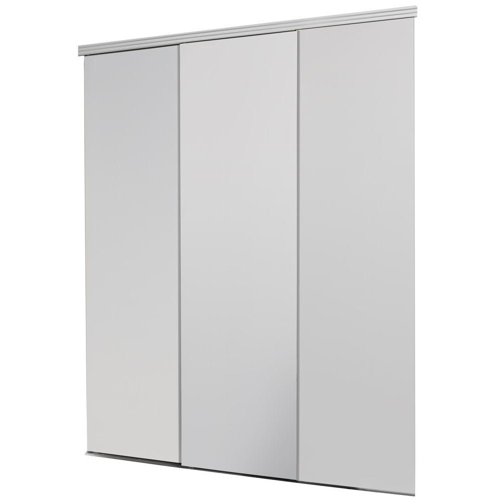 Impact Plus 90 In X 80 In Smooth Flush White Solid Core Mdf Interior Closet Sliding Door With Matching Trim Sfw343 9080m The Home Depot