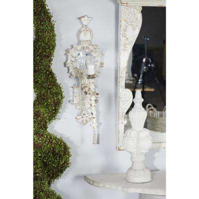 Distressed White Ornate Candle Sconce