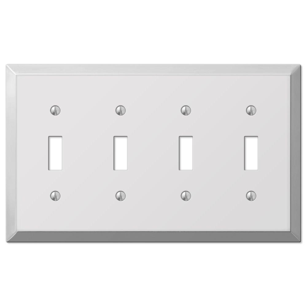 Hampton Bay Steel 4 Toggle Wall Plate Chrome 161t4 The Home Depot