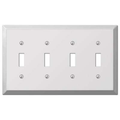 Steel 4 Toggle Wall Plate - Chrome