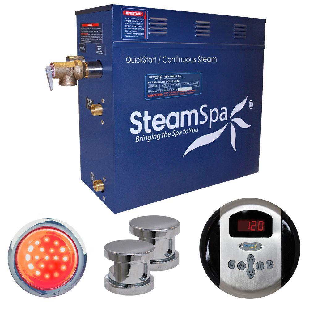 SteamSpa Indulgence 12kW Steam Bath Generator Package in Chrome by SteamSpa