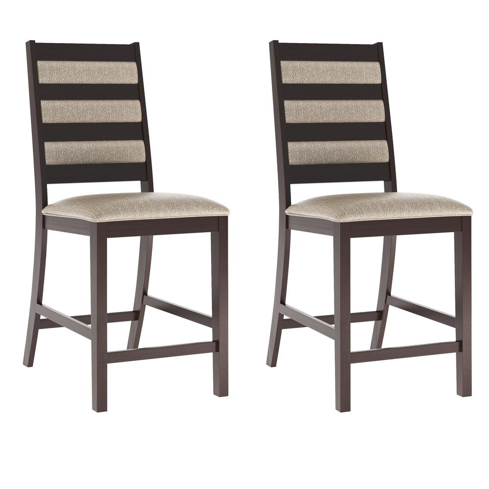 Bistro Platinum Sage Fabric Counter Height Dining Chairs ...