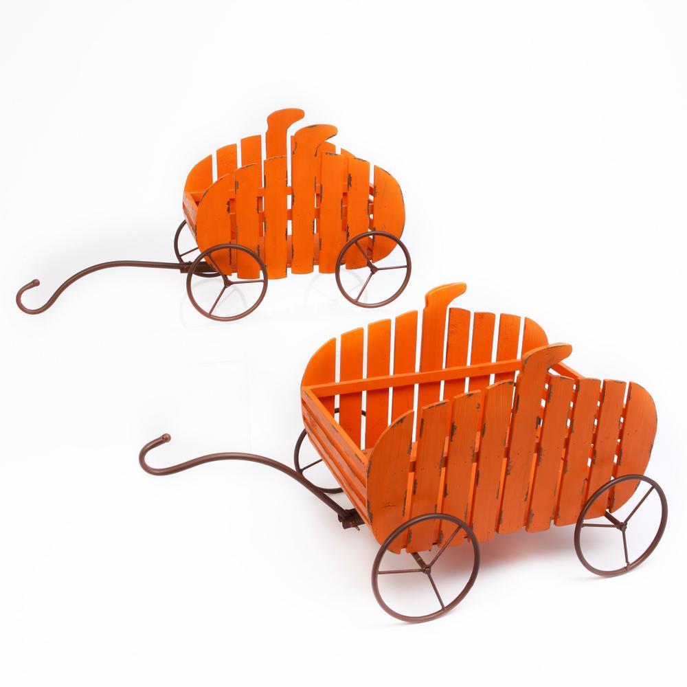 17 in. H Assorted Fir Nesting Pumpkin Wagons (Set of 2)