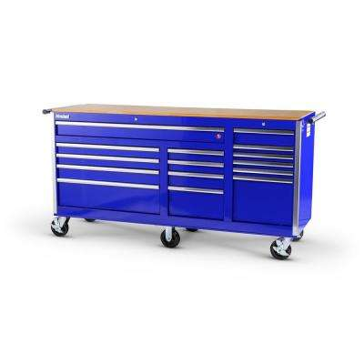 Tech Series 75 in. 15-Drawer Roller Cabinet Tool Chest with Wood Top in Blue