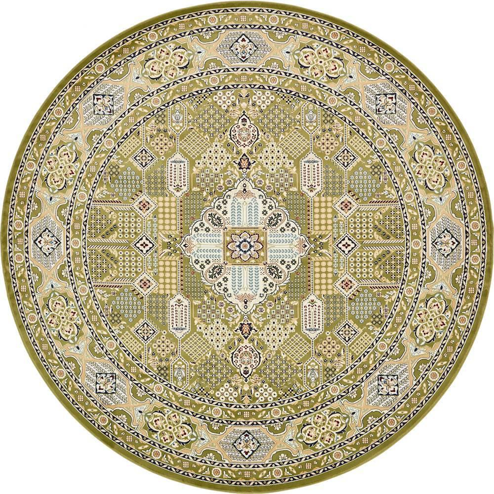 unique loom nain design green 10 ft x 10 ft round area rug 3135065 the home depot. Black Bedroom Furniture Sets. Home Design Ideas