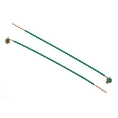 8 in. 12 AWG 1-Wire Solid Stripped Pigtail Loop and Screw, Green (100-Box)