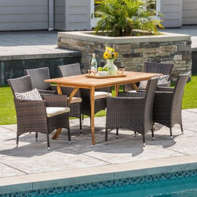 Amelia 7-Piece Wood and Wicker Outdoor Dining Set with Beige Cushion