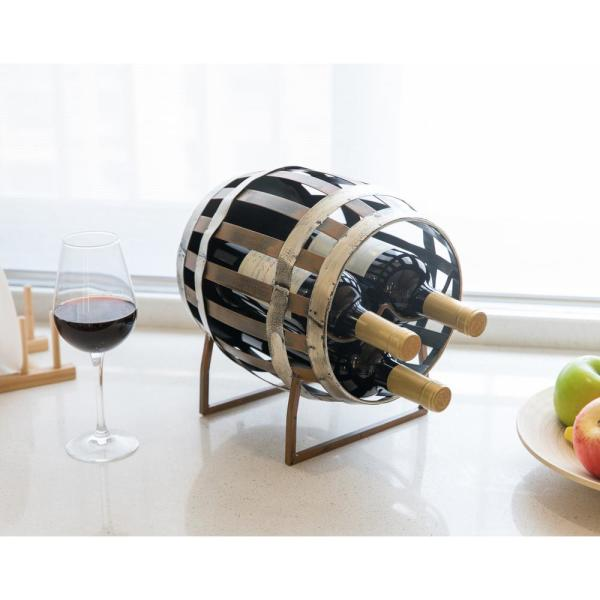 Vintiquewise Vintage Decorative Metal Barrel Shaped Tabletop Countertop 3 Wine Bottle Holder Qi003563 The Home Depot