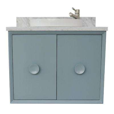 Stora 31 in. W x 22 in. D Wall Mount Bath Vanity in Aqua Blue with Marble Vanity Top in White with White Round Basin