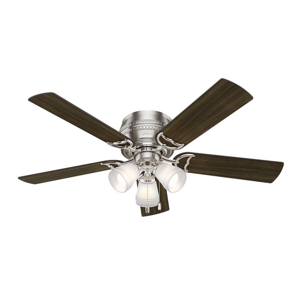 Prim 52 in. LED Indoor 3-Light Brushed Nickel Ceiling Fan