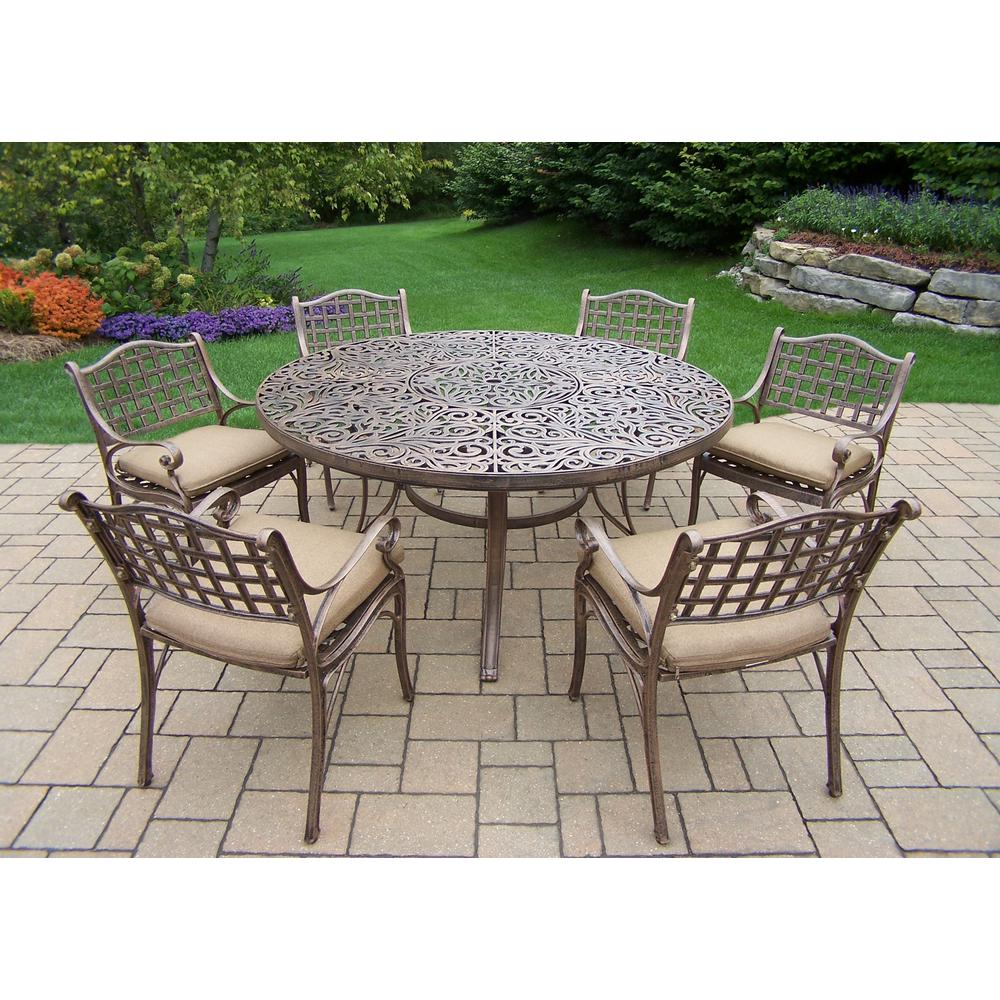 7-Piece Aluminum Outdoor Dining Set with Sunbrella Beige Cushions