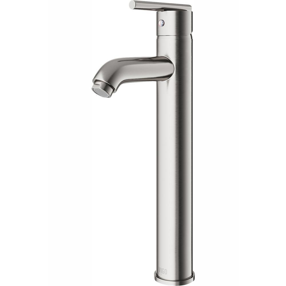 VIGO Single Hole Single-Handle Low-Arc Vessel Bathroom Faucet in Brushed Nickel