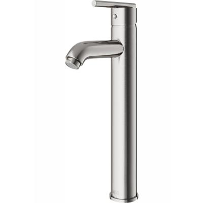 Single Hole Single-Handle Low-Arc Vessel Bathroom Faucet in Brushed Nickel