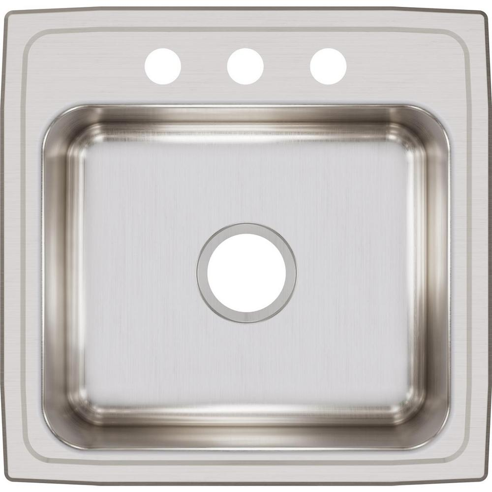 Elkay Lustertone Drop-In Stainless Steel 20 in. 3-Hole Single Bowl Kitchen Sink with 7.5 in. Bowl