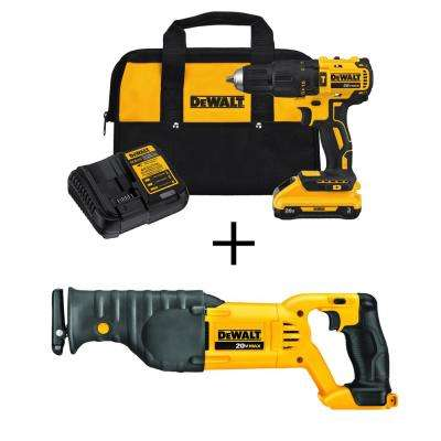 20-Volt MAX Lithium-Ion Cordless Brushless Hammerdrill w/ 3.0Ah Battery & Charger, Bonus Reciprocating Saw