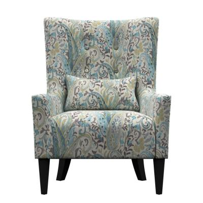 Venecia Sky Blue Multi Paisley Shelter High Back Wing Chair