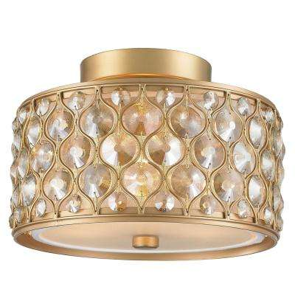 Paris 3-Light Matte Gold with Clear and Golden Teak Crystal Flushmount