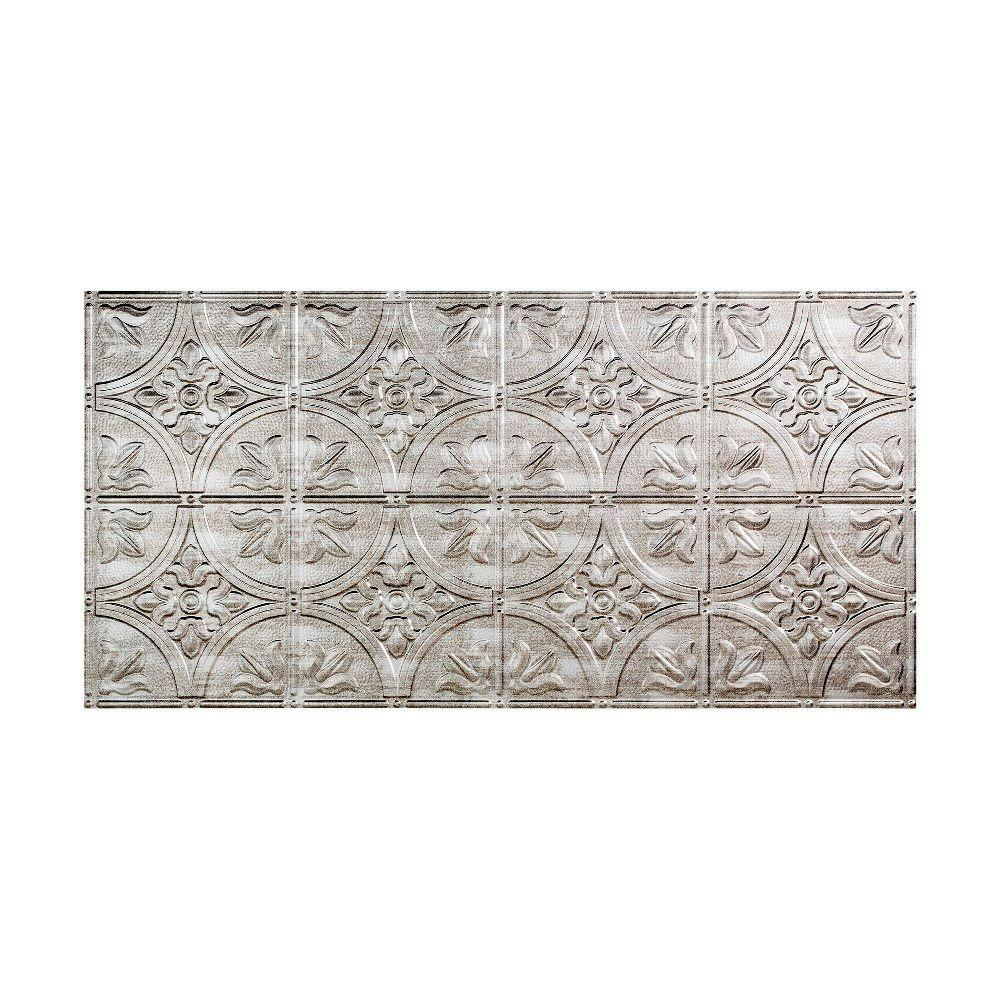 Fasade Traditional 2 - 2 ft. x 4 ft. Glue-up Ceiling Tile in Crosshatch Silver